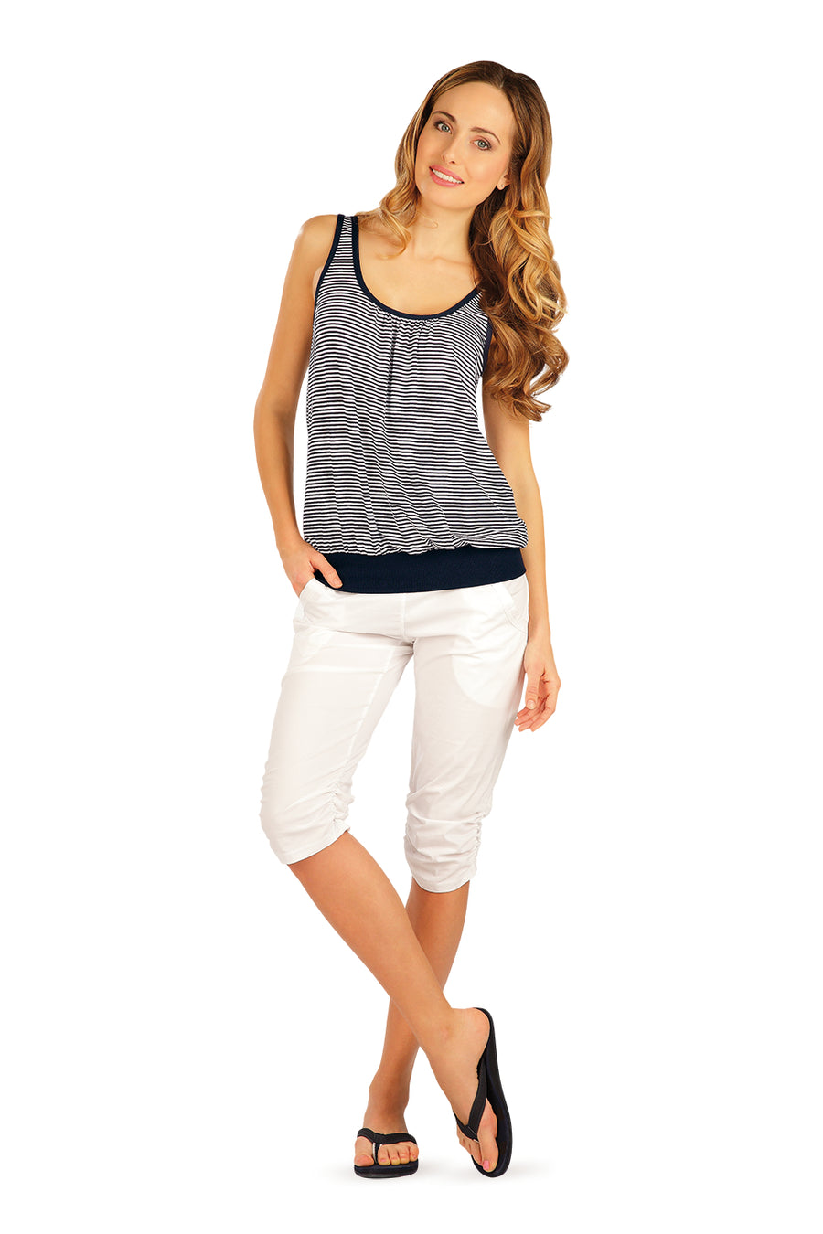 Navy Blue Stripes Tank - onelike