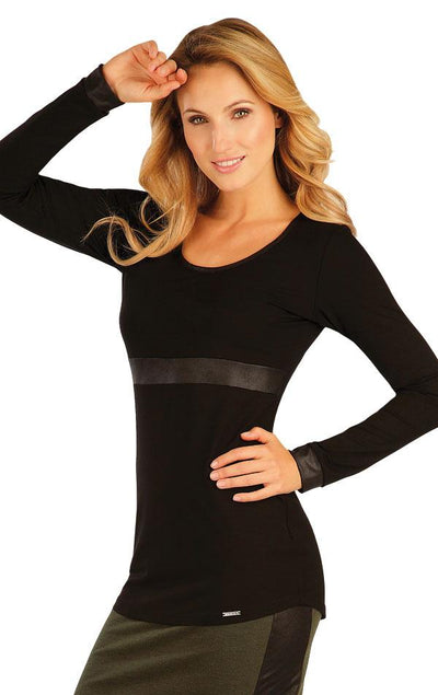 Black T-Shirt With Pleather Stripe - onelike