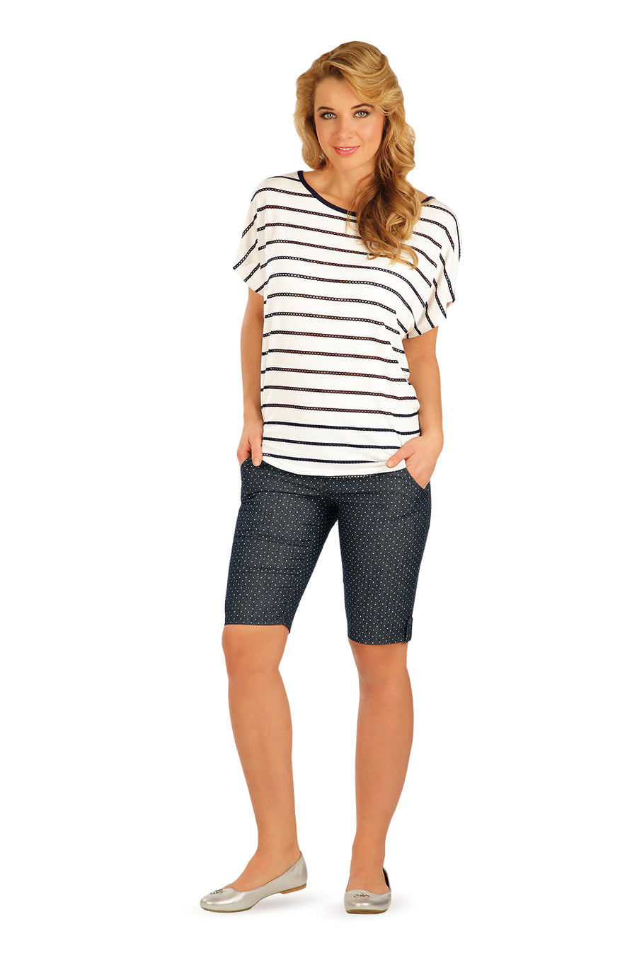 Butterfly Sleeves Tee With Perforated Stripes