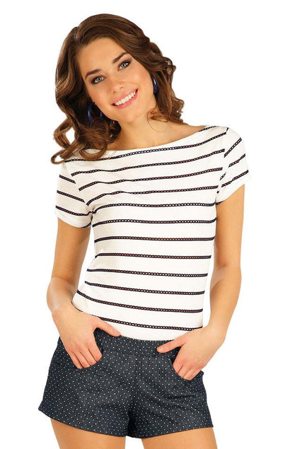 Short Sleeve Tee With Perforated Stripes - onelike