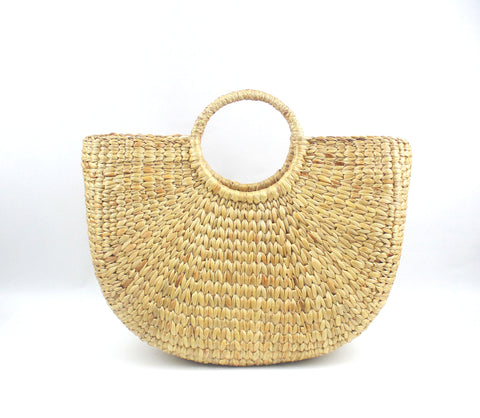 Half Moon Straw Beach Handbag (Medium)