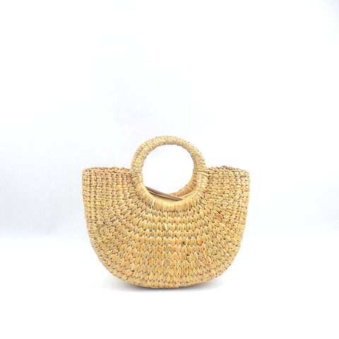 Half Moon Straw Beach Handbag (Small)