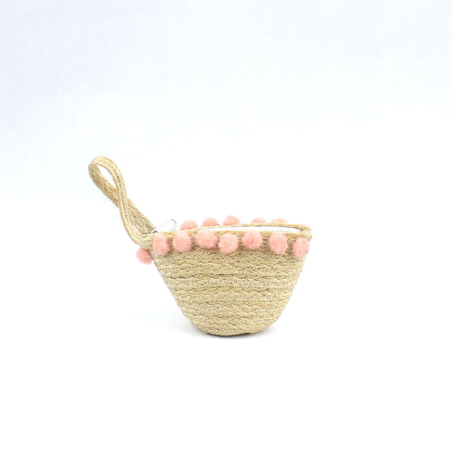 Mini Straw Coin Purse With Pompom