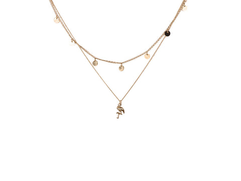 Dora Two Row Flamingo Necklace