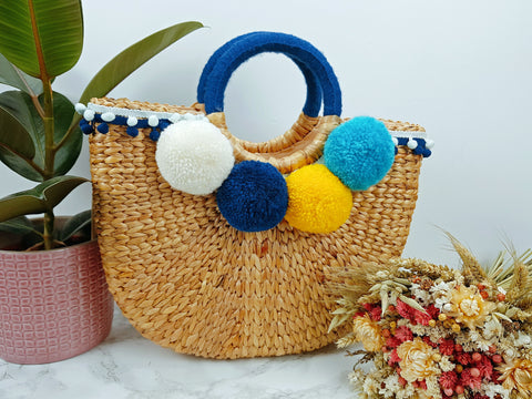 Half Moon Straw Beach Handbag With Pompom (Medium)