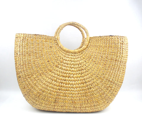 Half Moon Straw Beach Handbag (XL)