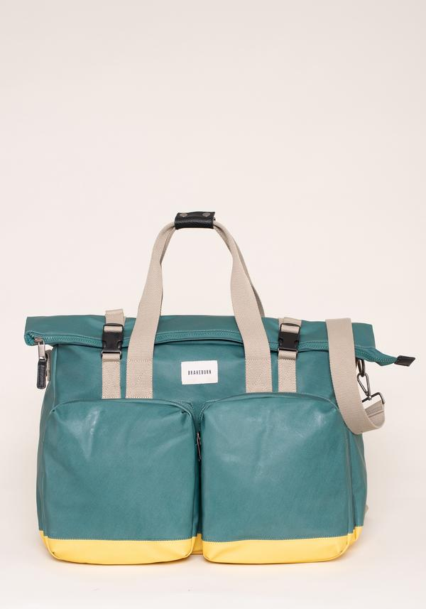 BRAKEBURN GREEN AND YELLOW ROLLED TOP HOLDALL BAG (SS21)