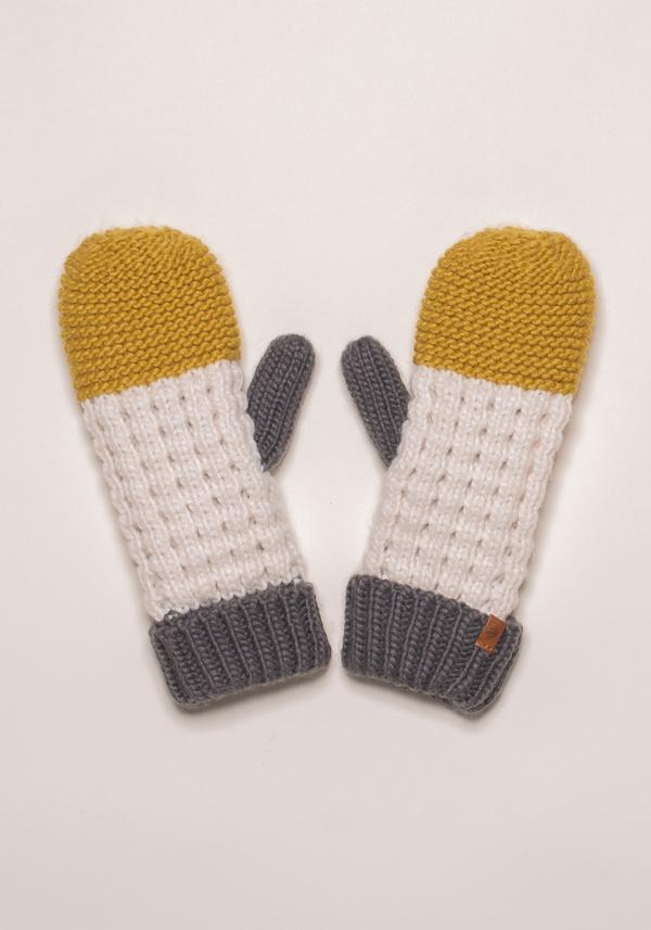 BRAKEBURN COLOUR BLOCK KNIT MITTENS