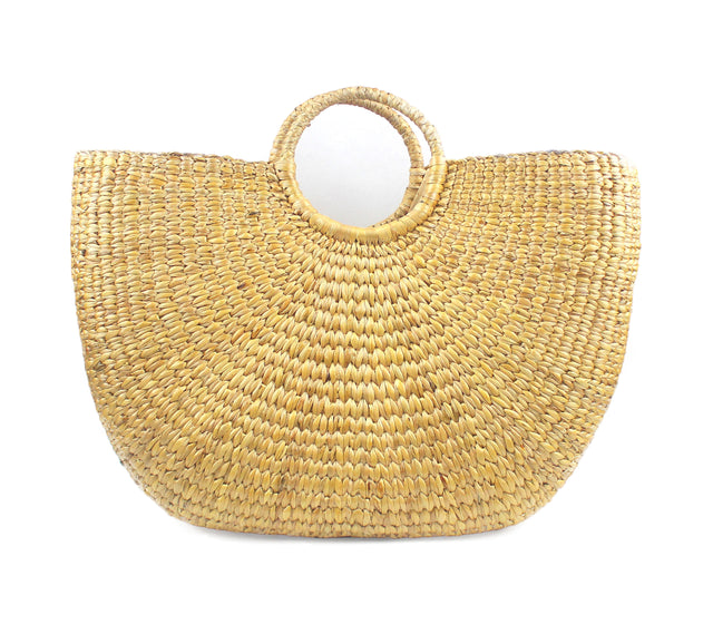 Half Moon Straw Beach Handbag (Large)