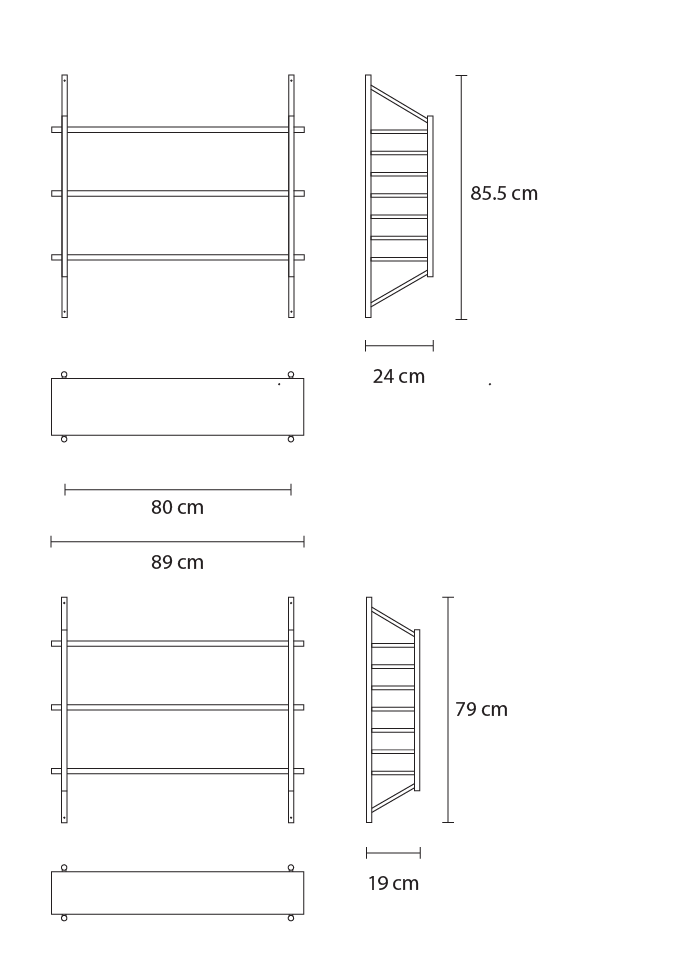 John Eadon MIMA Shelving 3 shelf set dimensions