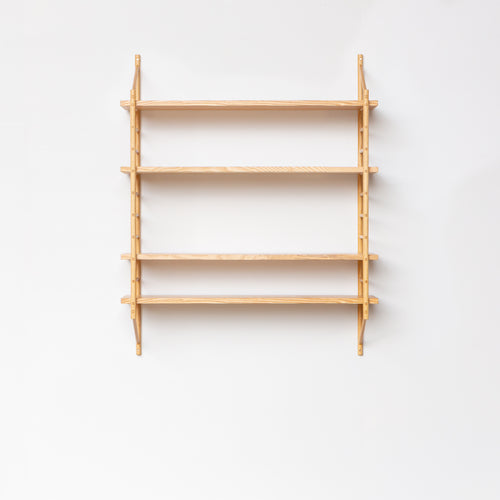 wall hung wooden ladder shelving by John eadon