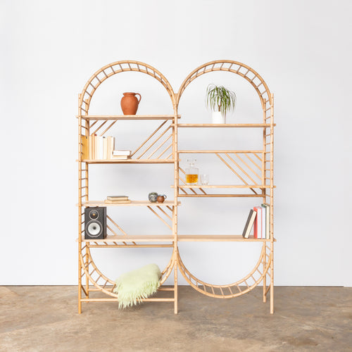 arched freestanding wooden ladder shelving by John Eadon double unit set