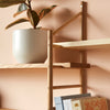 wall hung wooden shelving bracket detail