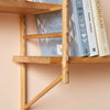wall hung wooden ladder shelving joint detail