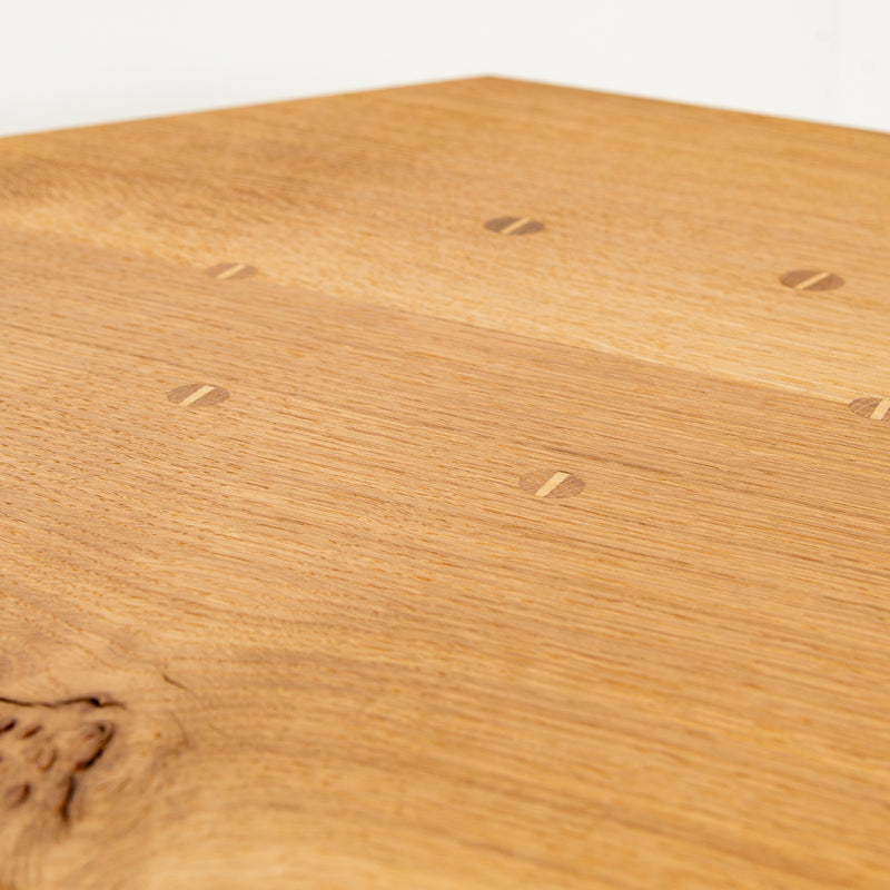 detail of wedged joints on table top
