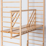 freestanding wooden ladder shelving by John Eadon split shelf option