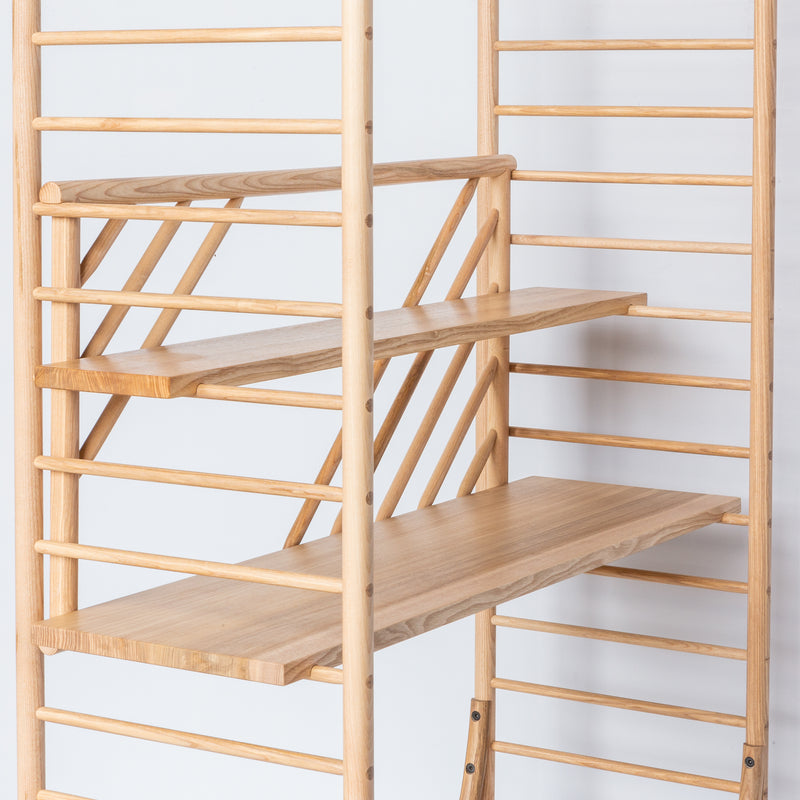 arched freestanding wooden ladder shelving by John Eadon shelving option