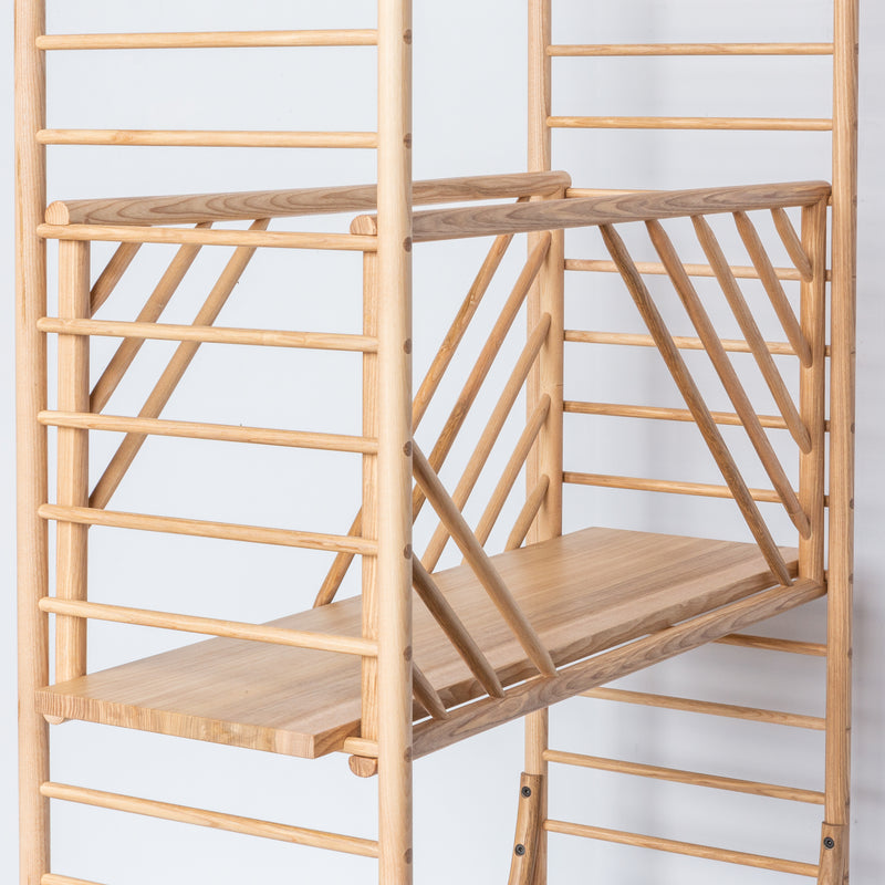 freestanding wooden ladder shelving by John Eadon full depth shelf