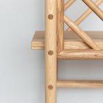 freestanding wooden ladder shelving by John Eadon panel detail