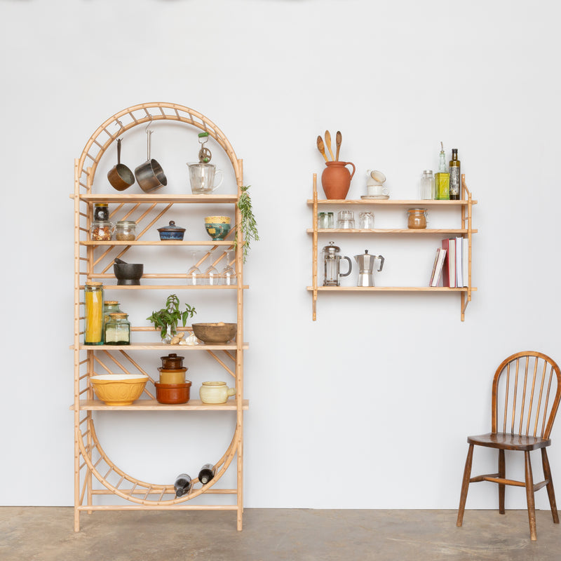 wall hung wooden ladder shelves with freestanding wooden ladder shelves by John Eadon
