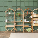 freestanding wooden ladder shelving by John Eadon custom layout