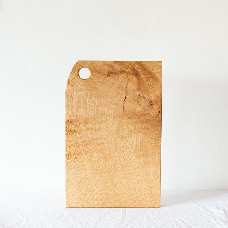 serving board with curved corner and hanging hole