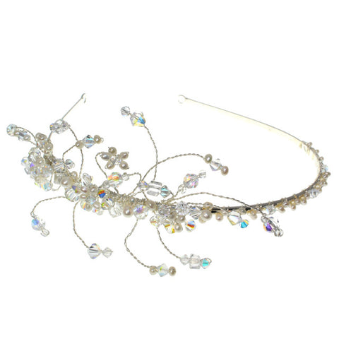 Wedding Side headband Featuring Aurora & Borealis Crystals