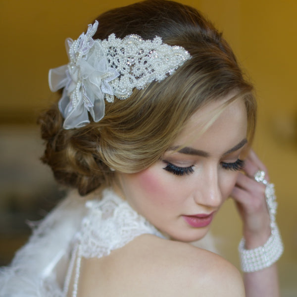Brianna Fabric Flower Bridal Chic Headpiece