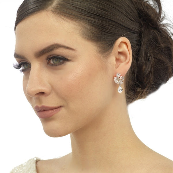 Bejewelled Crystal Drop Bridal Earrings