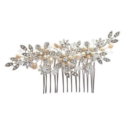 Floral Bouquet Crystal & Pearl Bridal Hair Comb