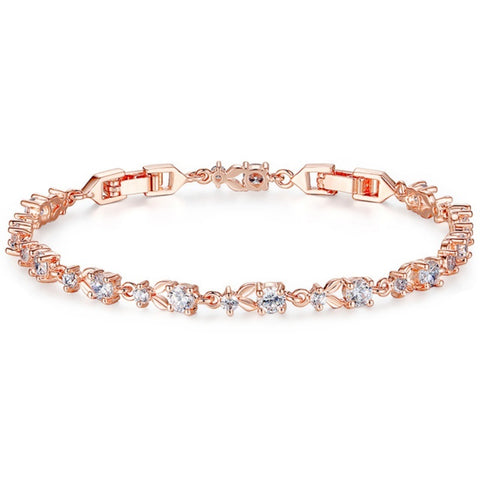 Chic Cubic Zirconia Tennis Bridal Bracelet In Rose Gold