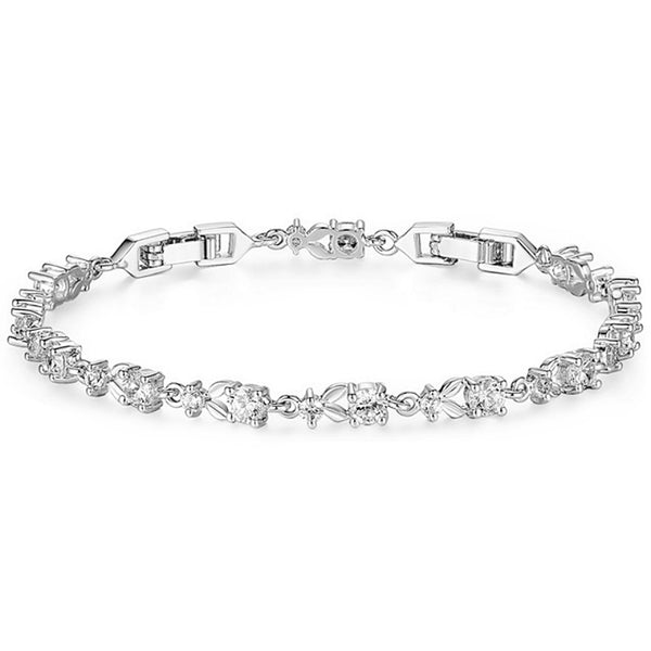 Chic Cubic Zirconia Tennis Bridal Bracelet In Silver