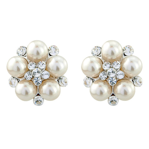 Classic Pearl Flower Bridal Earrings