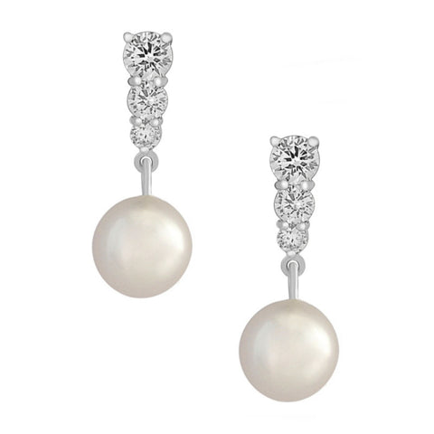 Classic Pearl & Crystal Bridal Earrings