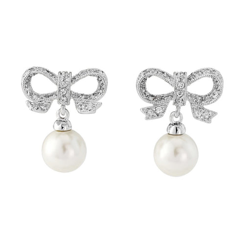 Crystal & Pearl Bow Bridal Earrings