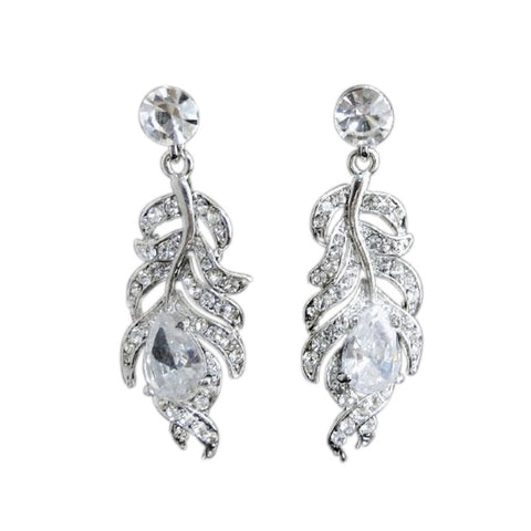 Crystal Feather Bridal Earrings