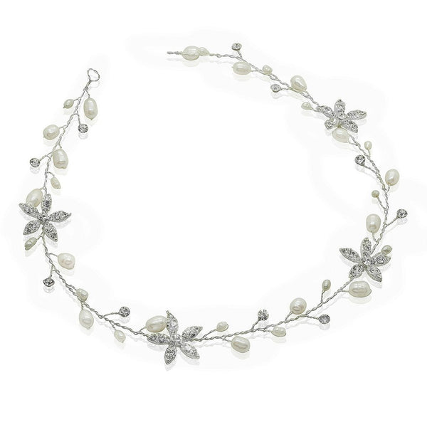 Crystal Flower & Pearl Bridal Hair Vine