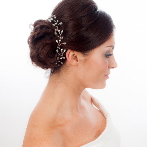 Hair Vine Featuring Sparkling Crystals & Freshwater Pearls