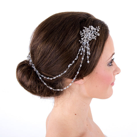 Bridal Brow Hair Vine With Rhodium Crystals
