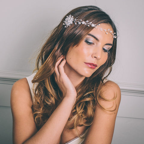 Twinkling Diamante Hair Vine With Freshwater Pearls
