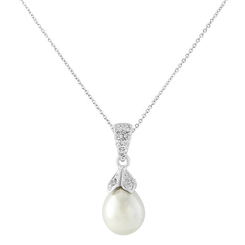 Classic Pearl Bridal Necklace In Silver