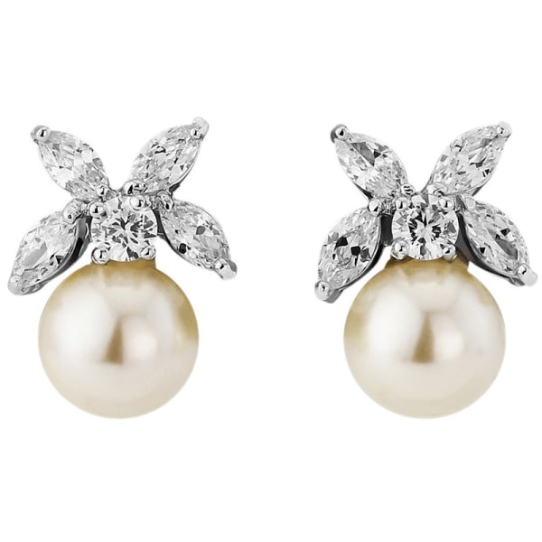 Delicate Pearl Bridal Earrings