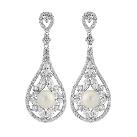 Elegance Crystal & Pearl Bridal Earrings