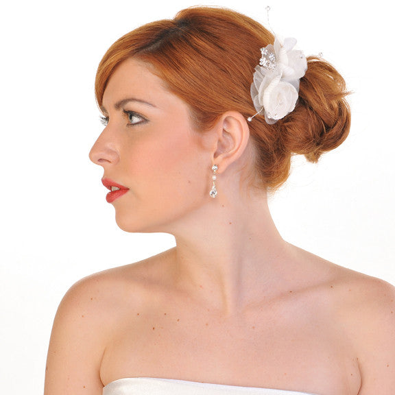 Double Ivory Flower Wedding Hair Comb