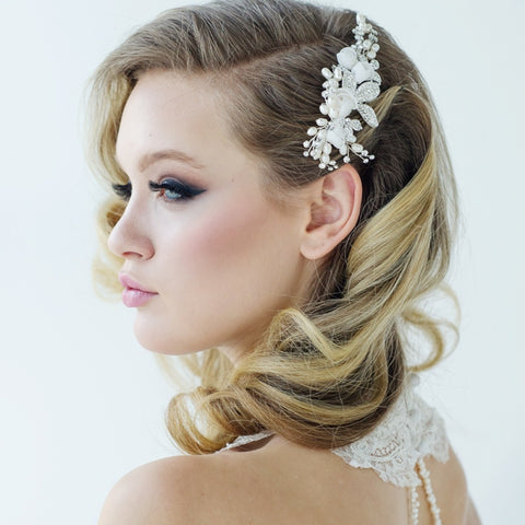Freya Luxe Bridal Hair Comb In Silver