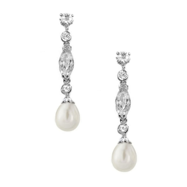 Glam Pearl Drop Bridal Earrings