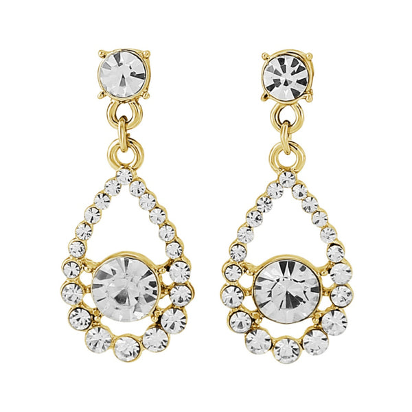 Classic Crystal Bridal Earrings In Gold