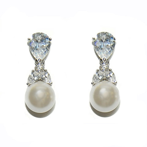 Graceful Pearl Bridal Earrings