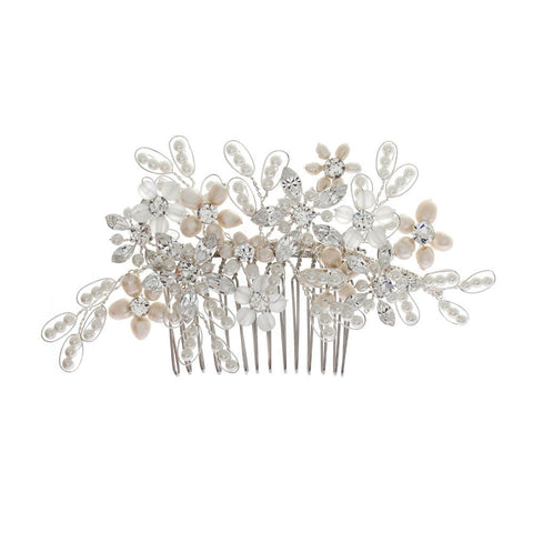 Juliette Floral Pearl & Crystal Bridal Hair Comb