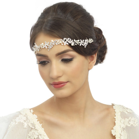 Luxe Embellished Crystal & Pearl Bridal Hair Vine In Silver